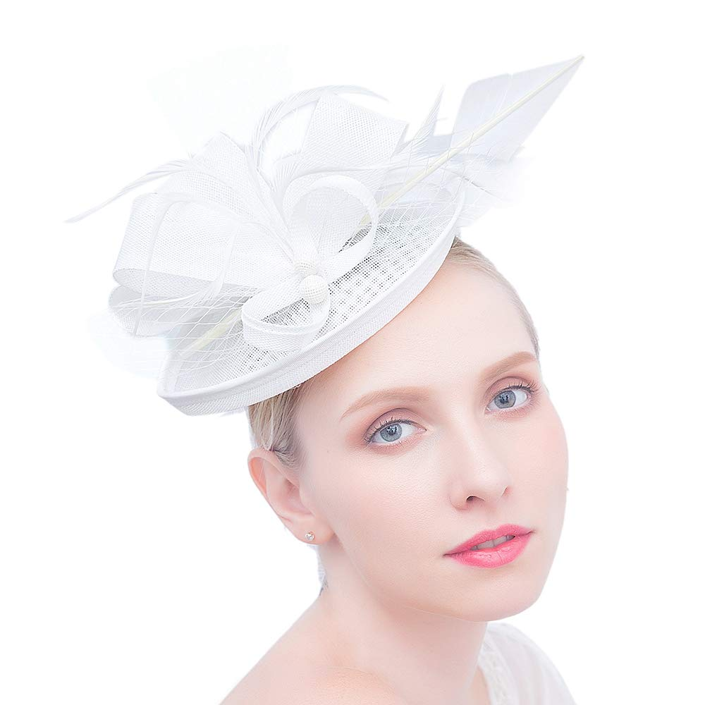 0e78580e Felizhouse Fascinator Hats for Women Ladies Feather Cocktail Party Hats  Bridal Headpieces Kentucky Derby Ascot Fascinator Headband (#2 Cambric  White)