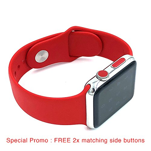 Apple watch LTE crown sticker vinyl cover dots, set of 8 color dots for series 0, series 1, series 2, series 3, plus FREE x2 matching side buttons (LTE Red)