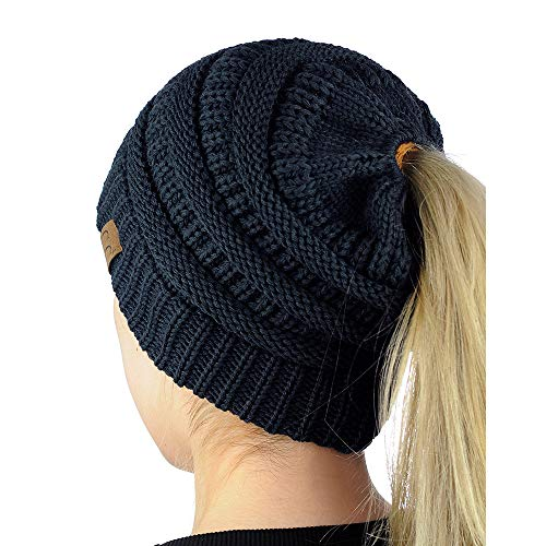 9PROUD Navy Beanie Winter Hats for Women Warm Stretch Cable Knit Beanie Messy Bun B9928
