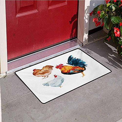 (Jinguizi Chicken Front Door mat Carpet Watercolor Effect Poultry Design with Rooster and Hens Flightless Bird Illustration Machine Washable Door mat W29.5 x L39.4 Inch Multicolor)
