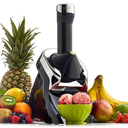 Yonanas 986 Elite Powerful Quiet Healthy Dessert Fruit Soft Serve Maker Includes 130 Recipe Book Creates Fast Easy Delicious Dairy Free Vegan Alternatives to Ice Cream or Frozen Yogurt BPA Free, Black