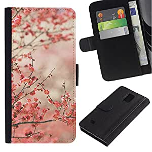 For Samsung Galaxy Note 4 SM-N910,S-type® Cherry Blossoms Pink Japan Tokyo - Dibujo PU billetera de cuero Funda Case Caso de la piel de la bolsa protectora