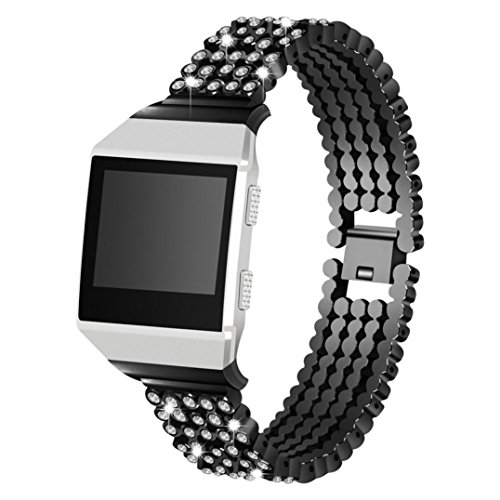 Easytoy Luxury Metal Bands for Fitbit Ionic Replacement Band with Rhinestone Bling Adjustable Bracelet for Fitbit Ionic Smart Watch (Black) by Easytoy