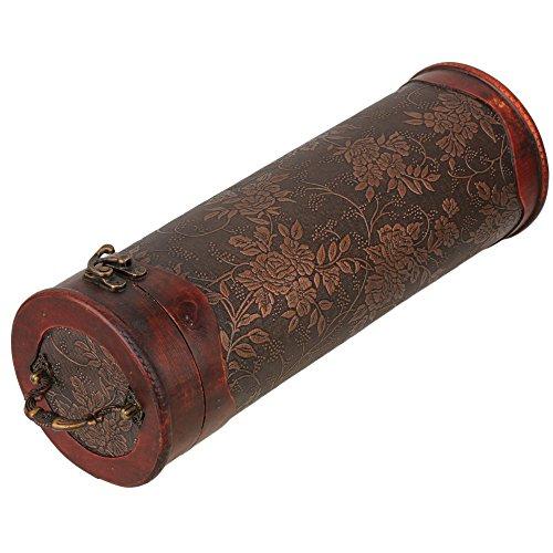 BQLZR Round Wooden Retro Vintage Wine Bottle Travel Storage Box Wine Bottle Case Holder Carrier ()
