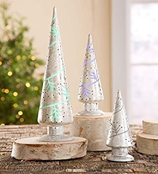 color changing silver mercury glass christmas trees set of 3 - Mercury Glass Christmas Trees
