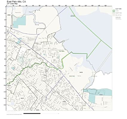 Amazoncom Zip Code Wall Map Of East Palo Alto Ca Zip Code Map
