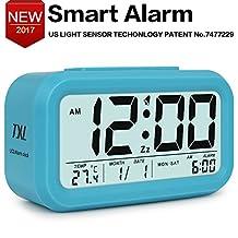 "Alarm Clock Digital Alarm Clock Large Display Travel Alarm Clock with Calendar Temperature Snooze Soft Nightlight, Battery Bedside Alarm Clock for Home Office Kid Bedroom 5.3"" Desk Clock Blue"