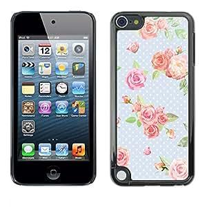 PC/Aluminum Funda Carcasa protectora para Apple iPod Touch 5 Dot Rose Baby Blue Green Retro / JUSTGO PHONE PROTECTOR