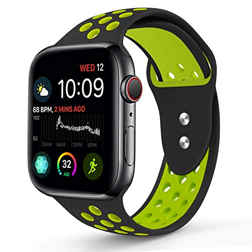 RUOQINI Compatible for Apple Watch 44MM, Dual-Color Soft Silicone Sport Replacement Band Compatible for Apple Watch Series 4 (M/L Size in Black/Volt Color)