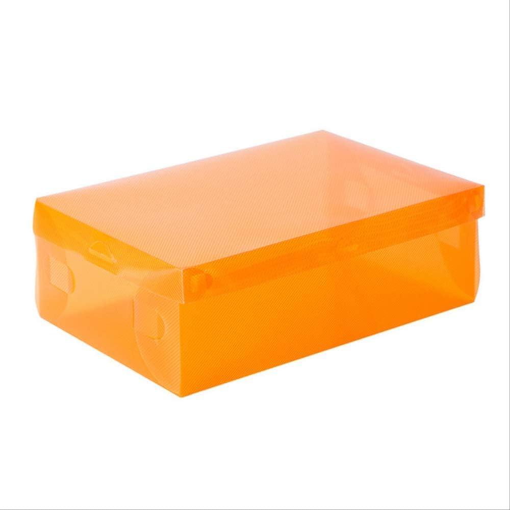 YDHWWSH Zapatero 5Pcs Damas/Niños Caja de Almacenamiento de Zapatos de plástico Transparente Caja de cosméticos Caja de Zapatos Plegable Caja de Zapatos de Color 28 * 9.5 * 18 cm Naranja