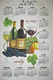 Stevens 2017 Linen Calendar Towel Wine Bottle Grapes Cheese Kitchen Planner and Cookbook Bookmark 2 Piece Bundle Vino Grape Leaves Wine and Cheese