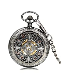 JewelryWe Hunter-case Pocket Fob Watch Mechanical Black Dial Celtic Knot Hollow with Gift Bag