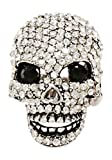 Ring - Silver Tone and Rhinestone Encrusted Skull Stretch Ring - Ricki's Dazzling Skull