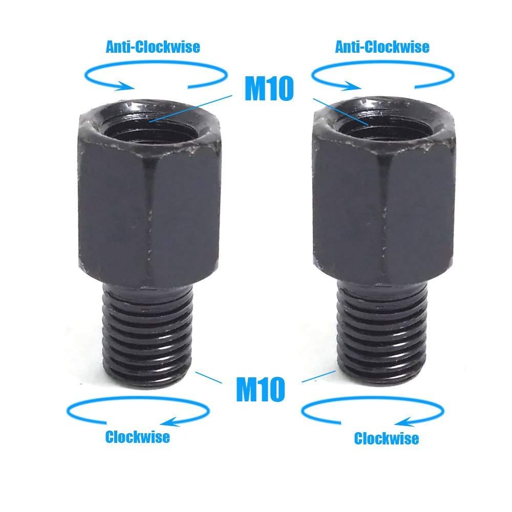 NO LOGO SHIYM-MTC Espejo Negro par de Motos adaptadores M10 M8 10MM 8MM Espejos retrovisores Conversi/ón Tornillo hacia la Derecha Anti-Reloj de Rosca Izquierda Derecha Color : 2X M10M10 LR
