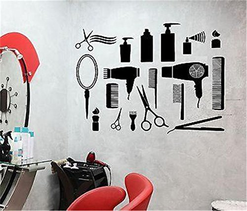 duziel Wall Stickers Art Decor Vinyl Peel and Stick Mural Removable Decals Barbershop Tools Hair Clippers Razors Combs and Mirrors