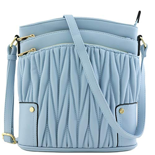 Triple Zip Pocket Large Crossbody Bag (Quilted ()