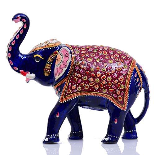 Indus Creation Metal Elephant Trunk-Up Hand-Painted Meenakari Design Curio