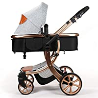 Baby Stroller Compact Reversible Bassinet Pram Strollers Foldable Citi Carriage All Terrain Convenience Pushchair Lux Boy Girl Stroller for Infant and Toddler (Moonlight Grey)