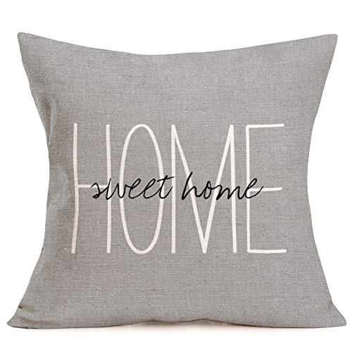 - Aremazing Cotton Linen Throw Pillow Case Cushion Cover Home Office Decorative 18 X 18 Inches Inspirational Warm Quotes Home Sweet Home Lettering Pillow Sham,Gray