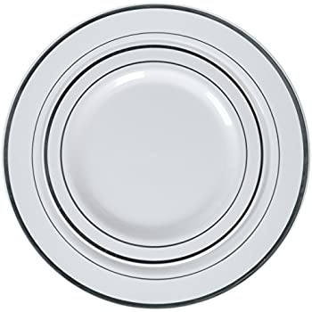 BloominGoods 50-Piece Disposable Plastic Plates - Party u0026 Wedding - 25 Dinner Plates and 25 Dessert Plates u2013 Silver Rimmed - Premium Heavy Duty ·    sc 1 st  Amazon.com & Amazon.com: 100 Heavyweight Elegant Plastic Disposable 7.5u201d Small ...