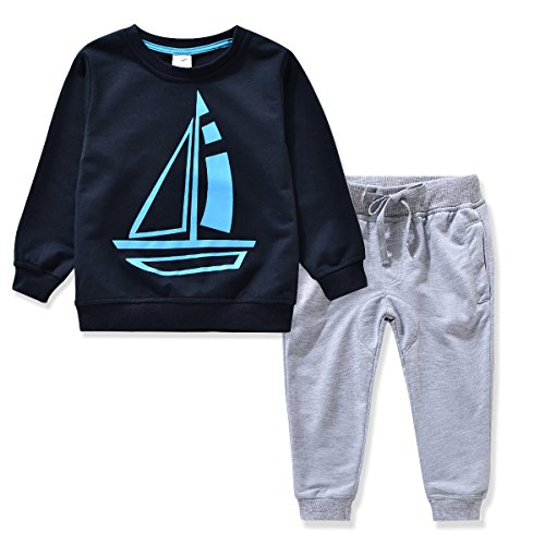 Miniowl Kids Boys Clothing Sets Ship Pattern Long Sleeve T Shirt Pants Db 2T