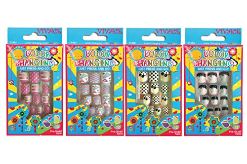 Vivace 4Pack 48Tips Color Changing Under Sun Fake Nails, Artificial Preglued Junior Sticker Nails 11461 etc (Sun 1)