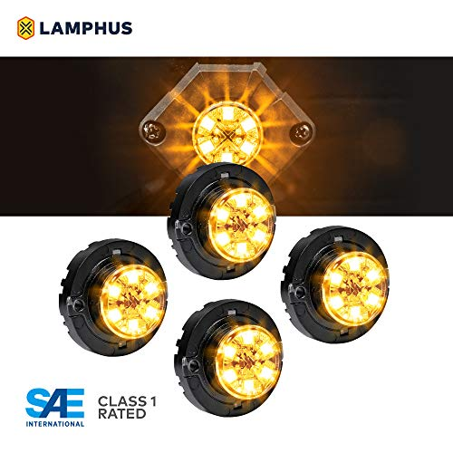 4pc SnakeEye III AMBER LED Hideaway Strobe Light [SAE Class 1] [IP67 Waterproof] [72 Flash Mode] [Multi Units Sync-able] [Steady Override] Yellow Emergency Grille Police Light For Tow Truck Vehicle