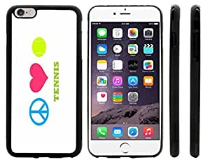 Rikki KnightTM Peace Love Tennis Design iPhone 6 Plus Case Cover (Black Rubber with front bumper protection) for Apple iPhone 6 Plus