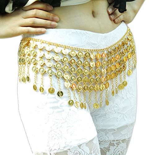 ZLTdream Women's Belly Dance Tower Shape Metal Hip Scarf Gold