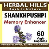 Shankhpushpi Capsules:Indian Ayurvedic Herb, 60 V Caps,240mg each,Brain tonic-Memory enhancer,help for sleep,relief from stress and anxiety,effective for nervous system. by Herbal Hills