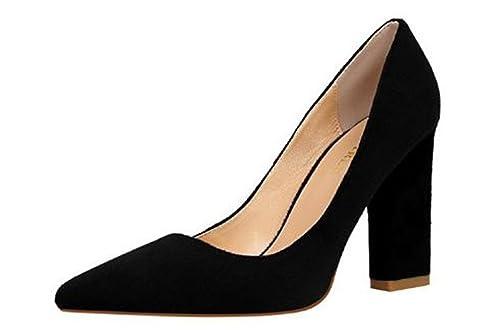 ba0cb522313ed3 MIKA HOM Women Sexy High Heel Pumps Cusp Toe Velvet Suede Straps Thick High  Heeled Sandals
