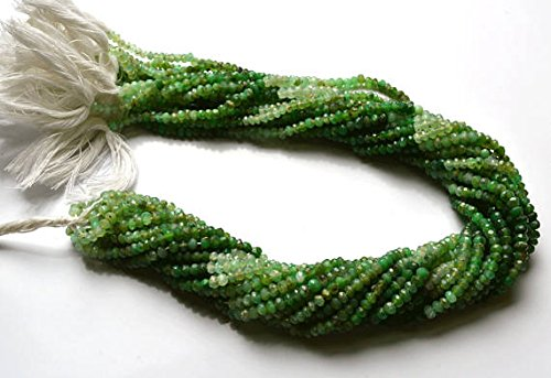1 Strand Natural 13.5 Inch Full Strand Natural Gemstone Peruvian Green Opal Micro Faceted Rondelle Beads Very Rare Gem Bead size 3 TO 3.5 MM