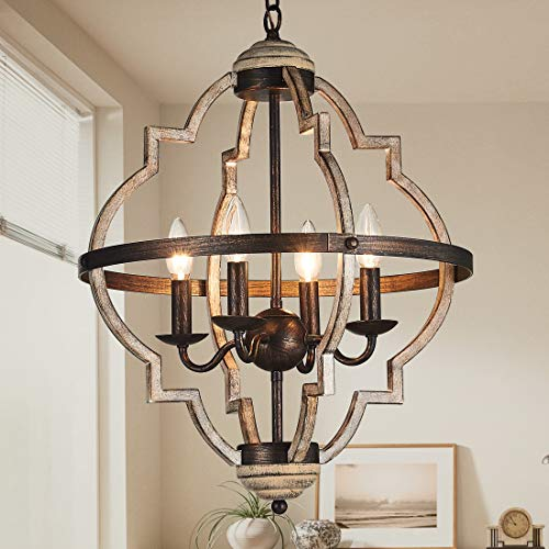 TZOE Orb 4-Light Metal Chandelier,Rustic Vintage Chandelier,Stardust Finish,Foyer Light,Adjustable Height,Dining Room Lighting Fixtures Hanging,Living Room Light,Kitchen Chandelier UL Listed ()