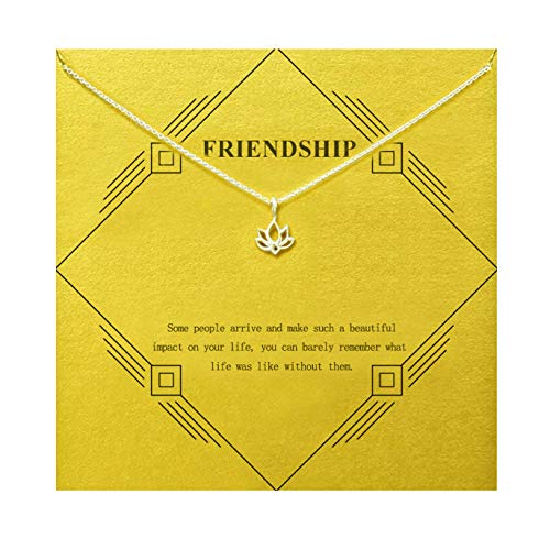 Gray Camel Friendship Lotus Flower Necklace Mom Gift with Message Card Gift Card for Women Girls (Sliver Lotus Flower)