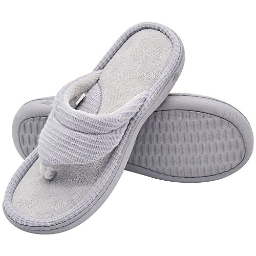 Wishcotton Women's Classic Memory Foam Spa Thong House Shoes Fluffy Flip Flop Slippers (L, Light Grey)