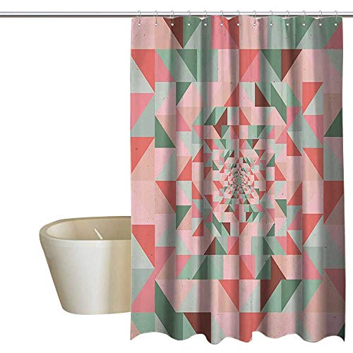 EwaskyOnline Retro Style Art Shower stall Curtains Unusual Composition of Geometry Shapes Design boy Shower Curtain W36 x L72 Pink Salmon - Angle Bisque Neo