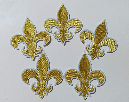 6.6x7.6cm 10pcs Gold Fleur De Lis Patch Iron On Embroidered Patches Appliques Felt Patches Machine Embroidery Needlecraft Project ()