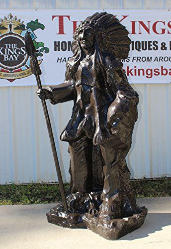 The King's Bay Indian Chief With Spear in Full Headdress Native American Bronze Statue 6' Tall