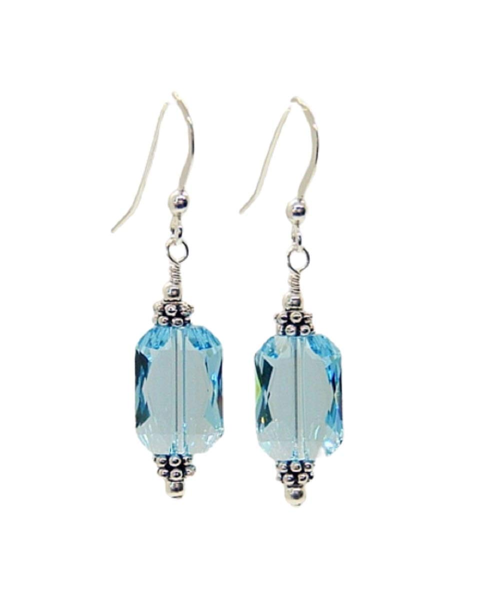 Aquamarine Faceted Earrings* Sterling silver hook* March Birthstone*