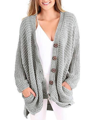 Womens Plus Size Cardigan Long Cable Knit Chunky Oversized Fall Button Sweaters with Pockets Grey
