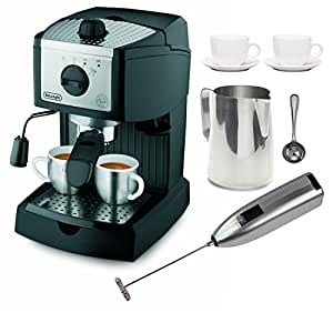 DeLonghi EC155 15 BAR Pump Espresso and Cappuccino Maker with Coffee Measure, Milk Frother, Two 3 oz Ceramic Tiara Espresso Cups and Saucers, and Frothing Pitcher