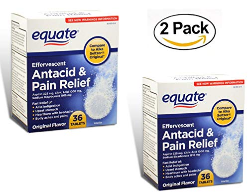 Equate - Effervescent Antacid Pain Relief (Two Pack - 72 Tablets Total)