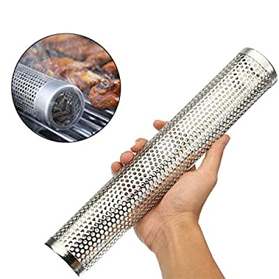 12In Stainless Steel BBQ Smoking Mesh Pipe Round Sqaure Pellet Smoker Tube Kitchen Outdoor Cooking Tools Accessories: Kitchen & Dining