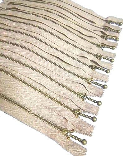 Metal Zippers 10 pcs - #3 Antique Brass Close-end, 6 Inch/15 cm, Light Tan - by Beaulegan