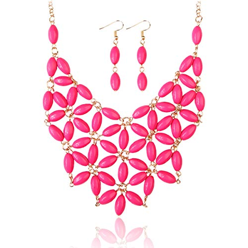 RIAH FASHION Floral Colorful Acrylic Beaded Bubble Statement Hammock Necklace - Tessellate Flower Net Bubble Bead Cluste Statement Bib Collar (Beaded Flower - Hot Pink)