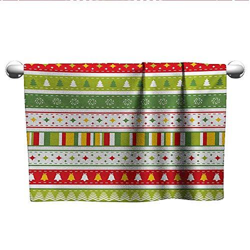Square Towel Christmas,Traditional Winter Seasonal Borders Stars Bells Trees Stripes Print,Lime Green Yellow Red,Towel Shelf for Bathroom ()