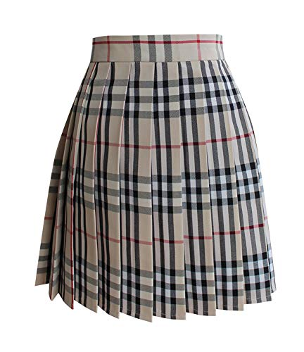 Women School Uniforms Plaid Pleated Costume Mini Skirt]()