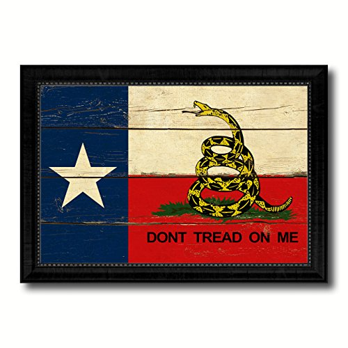 Texas Vintage Photo (Gadsden Don't Tread On Me Texas State Military Flag Vintage Canvas Print with Black Picture Frame Home Decor Wall Art)