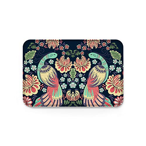 (YEHO Art Gallery Custom Welcome Doormat with Non-Slip Backing,Chinese Style Phoenix with Flowers Birds Pattern Bath Mats,Carpet for Entrance Indoor Outdoor Shoes Scraper,18 x 30 Inch)