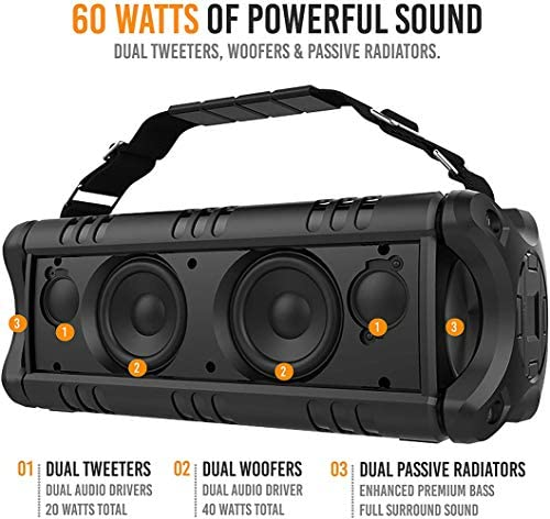 [Upgraded] Waterproof Bluetooth Speaker 60W (80W Max), Portable, Wireless, 8000mAh Power Bank, Shockproof, TWS, DSP, Stereo, Subwoofer, TF Card, Equalizer, Alpatronix AX500, Indoor & Outdoor – Black 51oy6GVsz8L